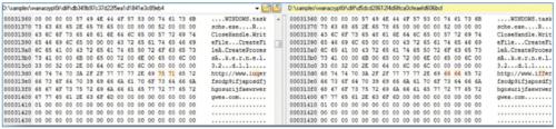 图5 变种(右)与原版(左)蠕虫恶意代码对比
